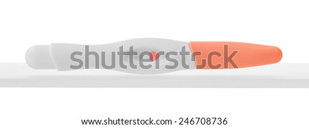 Single pregnancy test isolated on white background - stock photo