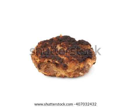 Single prepared small hand made cutlet isolated over white background - stock photo