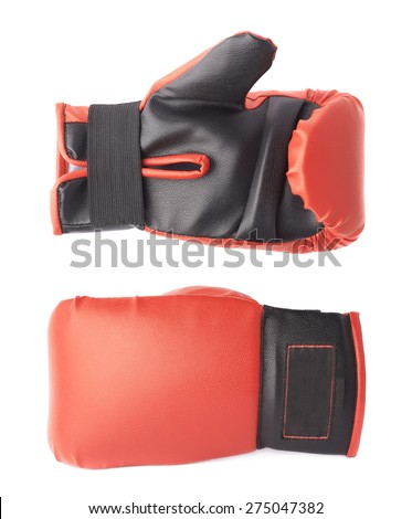 Single red and black boxing glove isolated over the white background, set of two side foreshortenings