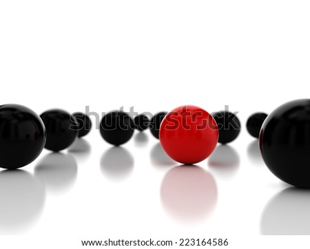 Single red ball standing out. Conception of leadership. 3d render - stock photo