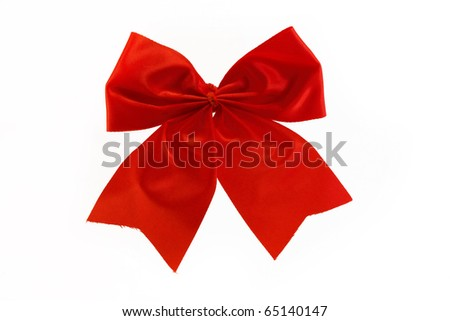 single red bow isolated over white