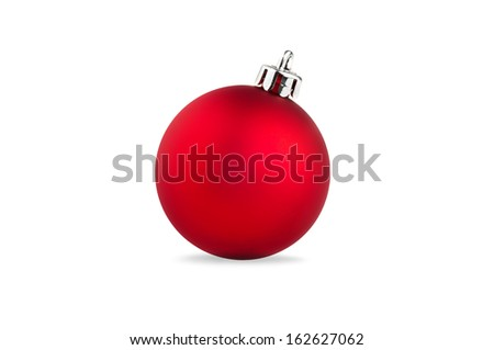 single red christmas ball over white background