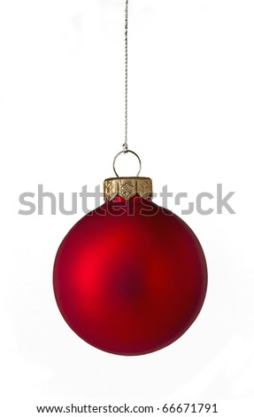 Single red Christmas bauble - stock photo