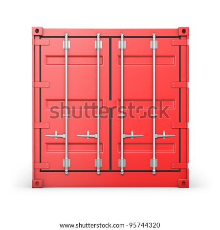 Single red container, front view, isolated on white background - stock photo