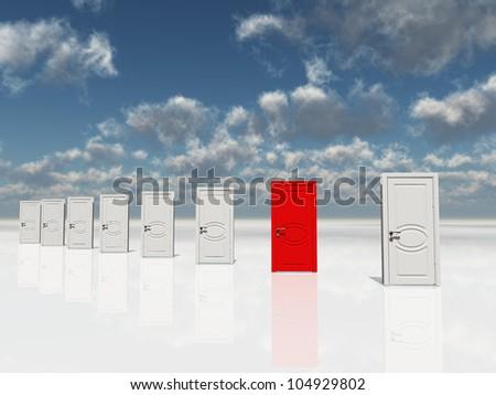 Single red door among several white doors - stock photo