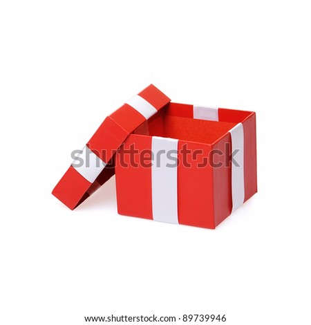 Single red gift box with ribbon on white background. - stock photo