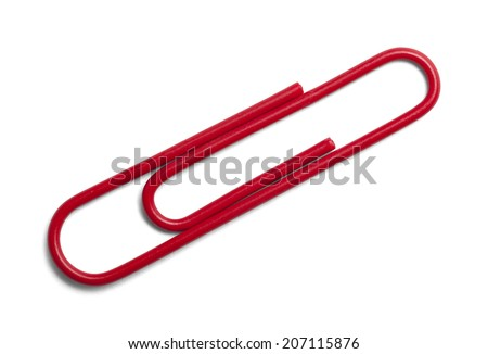 Single Red Paper Clip Isolated on a White Background.