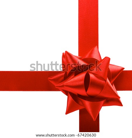 single red satin gift bow and ribbon isolated on white - stock photo