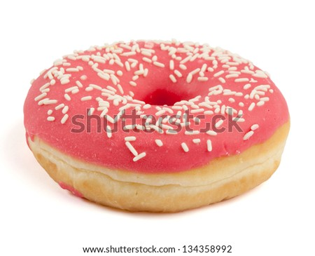 Single red sugar coated doughnut with sprinkles. Isolated on white background. - stock photo