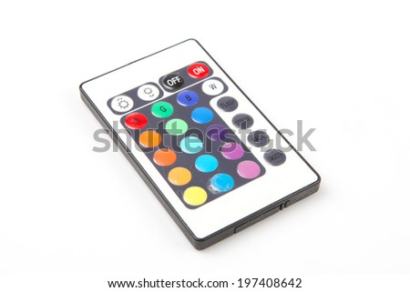 single remote control over the white background - stock photo