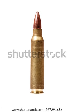 Single rifle bullet isolated on white. - stock photo
