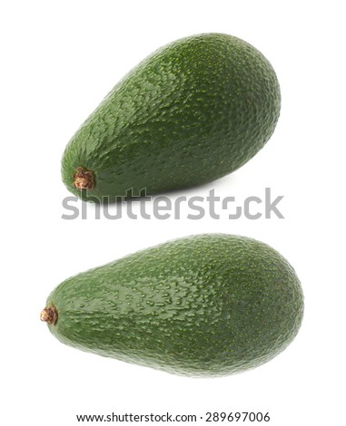 Single ripe green avocado fruit isolated over the white background, set of two different foreshortenings - stock photo