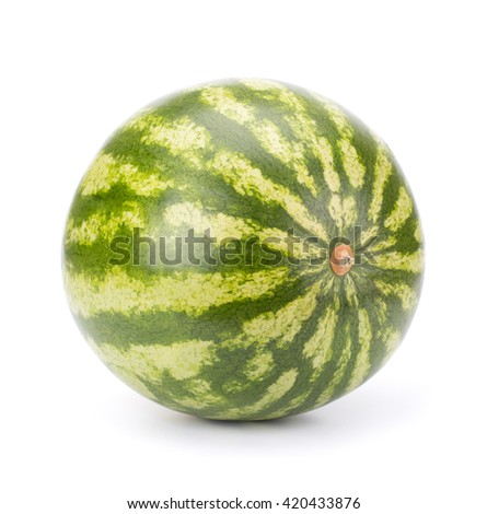 Single ripe watermelon isolated on white background - stock photo