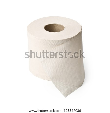 single roll of white rolled toilet paper - stock photo