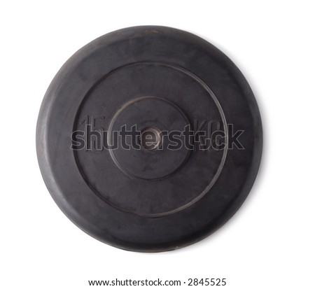 Single rubber weight isolated over white background - stock photo