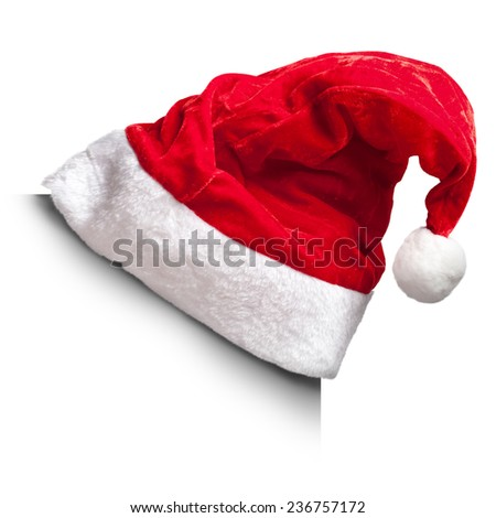 Single Santa Claus red hat isolated on white background. on the corner of a white square - stock photo
