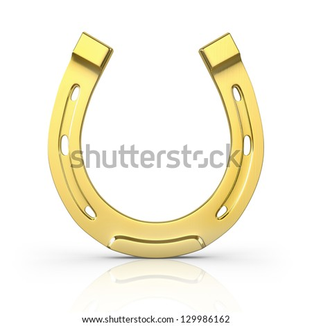 Single scratched golden horseshoe isolated on white background