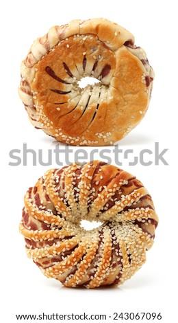 single sesame bagel isolated on white background  - stock photo