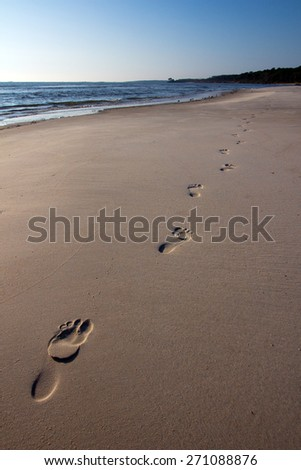 Single set of footprints on the beach heading diagonally from bottom left to top right of the photo. - stock photo