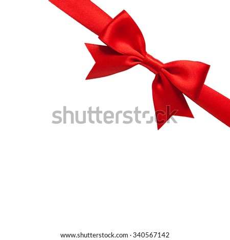single shiny gift bow, red satin, with one ribbon isolated on white
