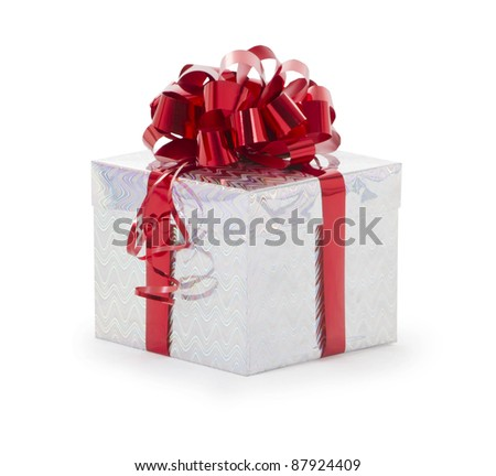 Single silver gift box with red ribbon on white background. - stock photo