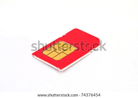 Single sim-card isolated on white background