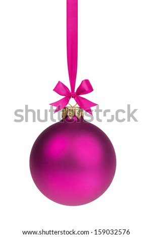 single simple purple christmas ball hanging on ribbon, white background - stock photo
