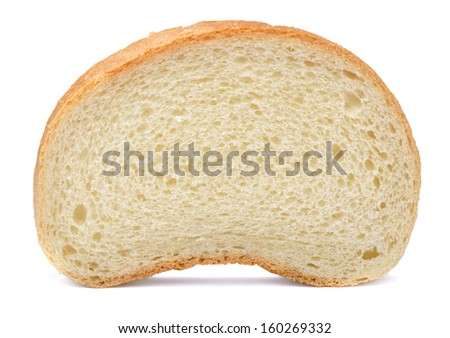 Single slice of bread isolated on white - stock photo