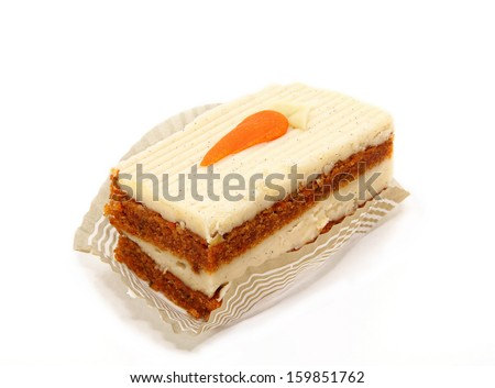 Single Slice Of Carrot Cake Isolated On White Background - stock photo