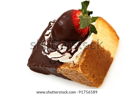 Single slice of cheesecake with strawberry and whipped topping dipped in chocolate ganache over white. - stock photo