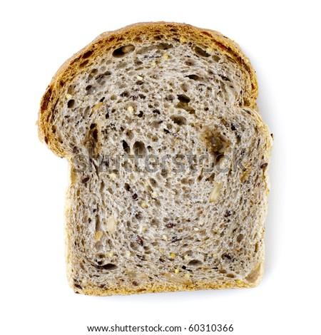 Single slice wholemeal bread isolated over white background - stock photo