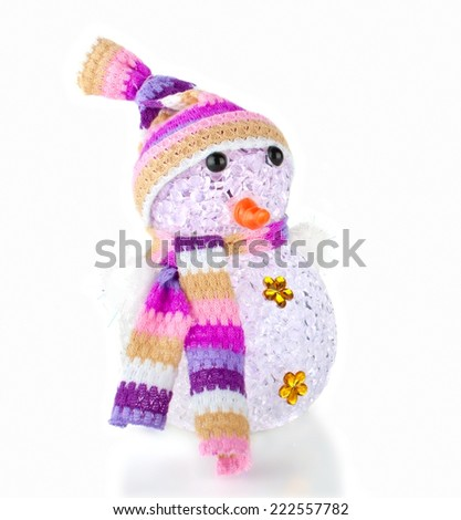 Single Snowman Toy Isolated on the White Background - stock photo