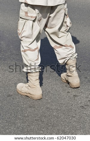 Single soldier waiting - army series - stock photo