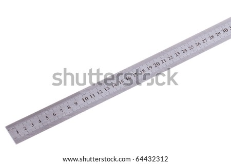 single stainless metric ruler isolated on white - stock photo