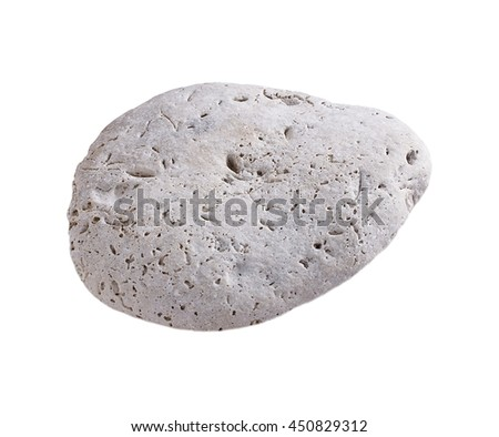 single stone isolated on white background with clipping patch