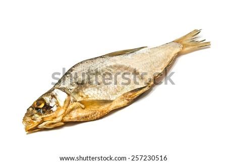single tasty stockfish on white background closeup - stock photo