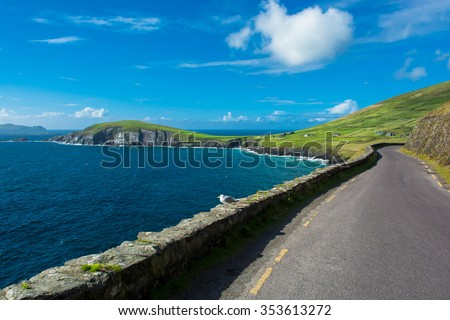 Single Track Coast Road at Slea Head in Ireland - stock photo