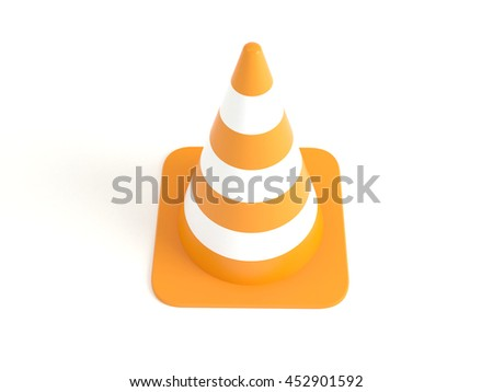 Single traffic road cone isolated on white background. High-resolution 3d illustration
