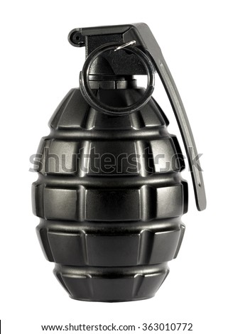 Single unexploded black metal grenade with round pin over isolated white background - stock photo