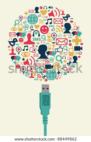 Single USB plug connects a globe made with social media icons on cream background. - stock photo