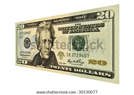 Single $20 USD bill isolated on white - stock photo