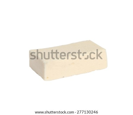 Single vanilla pastille with marmalade on white background, cut out  - stock photo