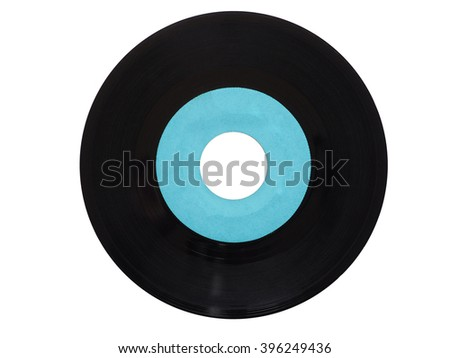 Single vinyl record vintage analog music recording medium 45 rpm isolated over white, blue label