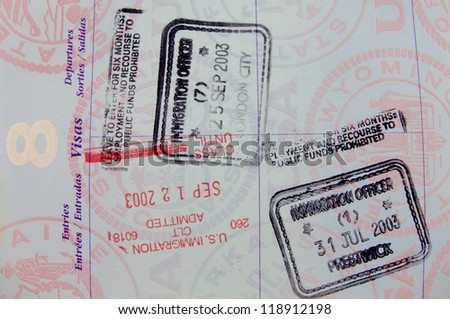Single vivid passport page with five different stamps
