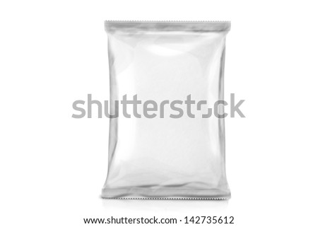 Single White Blank Bag Packaging. Foil package. Metal Pack. ready for your design. isolated over white background - stock photo