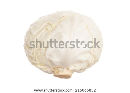 Single white cabbage with dew. Close-up. Isolated on white background. Studio photography.