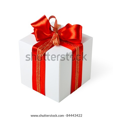Single white gift box with red ribbon on white background. - stock photo