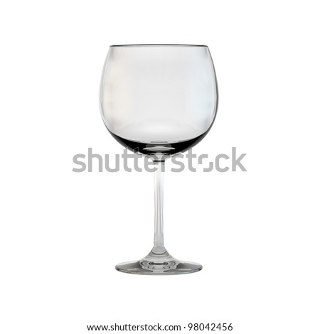 Single wine glass on white background