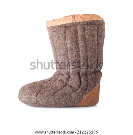 Single Winter Boot Popular in Russia, Isolated on White