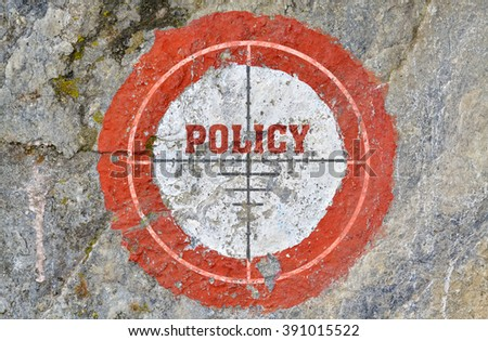 Single word Policy in the center of a red circle on textured background - stock photo